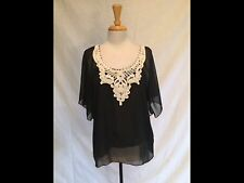 Alison Morgan Flutter Sleeve Black Pleated Top with White Embroidery-Medium