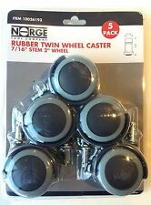 """Wheel Casters Twin Rubber Swivel 2"""" Wheel 66lbs Per Caster 5-pack Norge 93"""