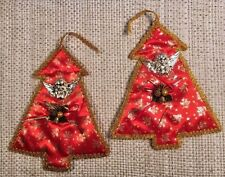 2 Vintage Silk Satin Tapestry Wall Hanging Brocade Handmade Christmas Tree 11.5""