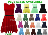 WOMENS SLEEVELESS FLARED FRANKI PARTY LADIES PLUS SIZE SKATER TOP DRESS 8-26