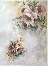 Carta di riso per Decoupage Decopatch Scrapbook Craft sheet vintage dipinto Flowe 2