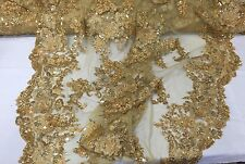 Italian Flower Design Mesh Lace Fabric Beaded Gold. Sold By The Yard