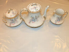 Antique Lemoges Tea Set CH Field Haviland Hand Painted Floral Pink Blue Wt