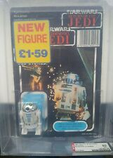 VINTAGE STAR WARS Tri logo R2-D2 POP UP SABER UNPUNCHED AFA 80 Palitoy