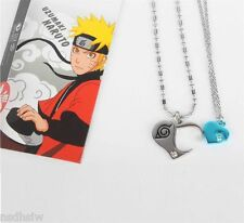 Cool Anime Naruto Uzumaki Konoha Cosplay Love Necklace Double Pendants Necklace