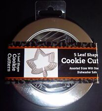 5 Leaf Shapes Cookie Cutters in Steel Tin ~ NEW NIP Maple Lot Fall Halloween
