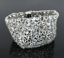 Unique 100.37ct Rose Cut Diamond & 18K White Gold Wide Mesh Bracelet