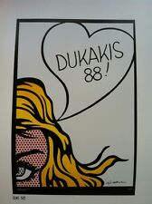 Roy Lichtenstein Dukakis 88 California 1988 Poster 27.5X 25.5 cm Pop Art    P:98