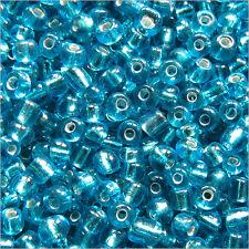 Perles de Rocailles en verre 2mm Trou Argenté Bleu Turquoise 20g (12/0)