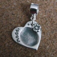Fingerprint Jewellery - 99.9% Fine Silver Heart & Flower Charm - Gifts for her