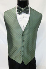 Mens Fusion Patterned Fullback Tuxedo Formal Suit Vest & Tie Set Waistcoat Prom