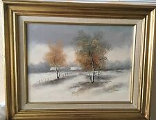 Oil On Canvas Painting Framed By  E Green Winter Scene