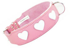 20-24 Inch Pink White Heart Staffordshire Labrador Pitbull Leather Dog Collar