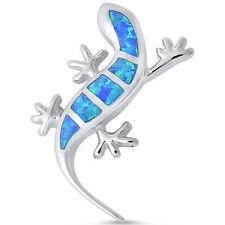 Blue Opal Lizard .925 Sterling Silver Pendant