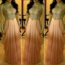2016 Chiffon Luxury Beaded Prom Gowns High Neck Long Sleeve Party Evening Dress