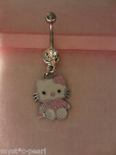 Pink Hello Kitty Stainless Surgical Steel Belly / Navel Bar in Pretty Gift Pouch