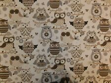 STOF OWLS HOU HOU OWL PRINT 100% COTTON CURTAIN FABRIC MATERIAL BROWN CREAM