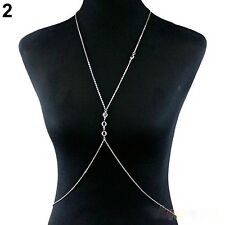 Fashion Alloy Silver Plated Necklace Body Belly Waist Crossover Chain Beach