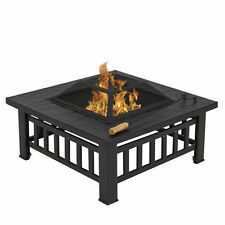 "Outdoor 32"" Metal Firepit Patio Garden Square Stove Fire Pit Brazier Metal"