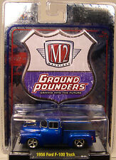 M2MACHINES 1:64 SCALE DIECAST METAL BLUE 1956 FORD F-100 TRUCK GROUND POUNDER