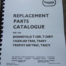 Triumph Bonneville T120 R RV Tiger 650 TR6R RV Trophy TR6CV Parts Catalogue 1972
