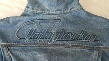 RARE��Vintage HARLEY DAVIDSON EMBOSSED Biker Denim Jean Jacket Sz M MADE IN USA