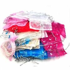 100 Mixed Organza Gift Bags Jewellery Pouch 13cm X 10cm ED