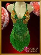 CHARISMATICO Green and Gold Sequined Latin Dance Dress with Fringed Skirt