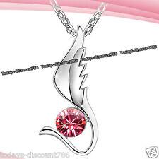 Pink Crystal Silver Necklace Angel Wing Love Birthday Xmas Gifts For Her Women