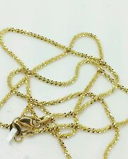 """14k Solid Yellow Gold Diamond Cut Sparkle Necklace Chain 16"""" 1.5mm"""