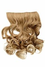 Haarteil Flip-In Extension Halbperücke breite Haarextension Blond Mix lockig