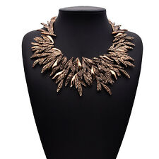 Fashion Vintage Branches Crystal Statement Bib Choker Necklace Pendant Women