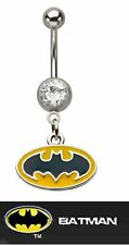 batman Belly Ring 316l Surgical Stainless Steel with Blue Cz Stone 14g (1.6mm)