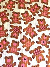 Adorable Teddy Bear Cotton Blend Quilt Craft Material Fabric Textile Remnant