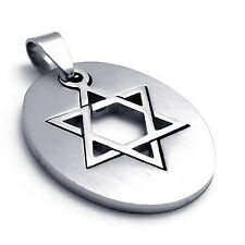 MENDINO Men's Stainless Steel Pendant Necklace Lucky Star of David Silver Tone