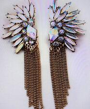 Statement Ohrringe Ohrstecker Flügel Rainbow mit langen Kettchen NEU