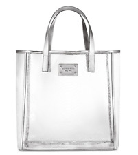 MICHAEL KORS CLEAR/SILVER JELLY LARGE TOTE TRAVEL BEACH WEEKENDER BAG NEW!