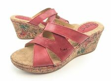 BOC Born Womens 7 Red Leather Floral Wedge Sandals Heels Slides Shoes EUC