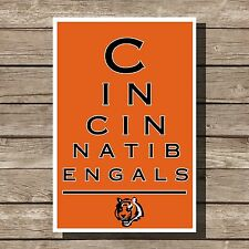 Cincinnati Bengals Art Football NFL Eyechart Poster Man Cave Decor 12x16""