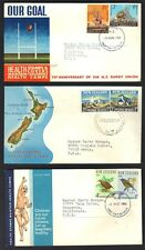 NEW ZEALAND 1940-70's COLLECTION OF 6 HEALTH STAMP SETS ON FDCs ALL WITH CACHETS