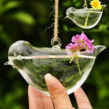 Clear Bird Glass Hydroponic Hanging Flower Vase Pot Terrarium Container DIY