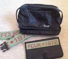 FCUK Mens Toiletry /Travel Bag with  Shoulder Strap and Wallet