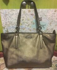 A Very Beautiful Silver Distressed Leather Coach Tote Bag Handbag So Awesome