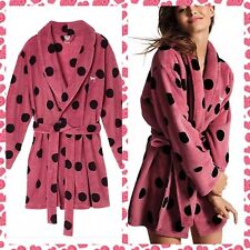 Victorias Secret Bath Robe Plush Fleece Cozy Polka Dot Begonia 2016 Sold Out XS