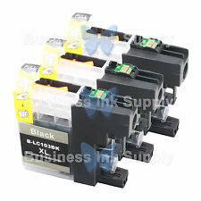 3 BLACK New LC103 LC103XL LC103 for Brother LC-103 LC101 LC 103 LC101BK LC103BK