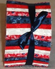 "20~Honey Bun 1.5"" Fabric Strips Quilting Red White Blue Floral Patriotic Colors"
