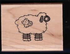 LAMB PLUSH Patch Button Farm Yard Barn Stampin' Up! Wood mount RUBBER STAMP