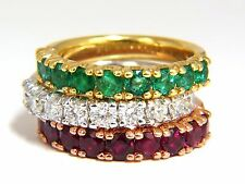 3.92ct stackable natural vivid red ruby emerald diamond bands 14kt. g/vs