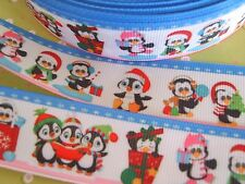 1M x Penguin Cartoon Christmas GROSGRAIN RIBBON, Craft, Bow,Cake 25MM *UK*