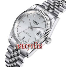 Burshed Parnis 36mm silver dial sapphire glass Miyota Automatic date watch P02